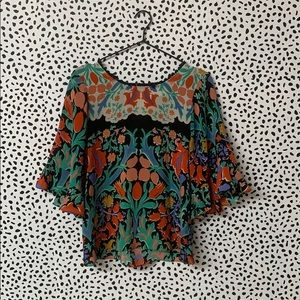 Anthro Maeve Floral Ruffle Open Back Blouse
